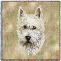 West Highland White Terrier - Robert May - Lap Square Cotton Woven Blanket Throw - Made in the USA (54x54) Lap Square