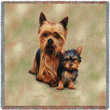 Yorkshire Terrier Yorkie with Puppy - Robert May - Lap Square Cotton Woven Blanket Throw - Made in the USA (54x54) Lap Square