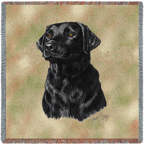 Labrador Retriever Black Lab - Robert May - Lap Square Cotton Woven Blanket Throw - Made in the USA (54x54) Lap Square