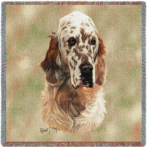English Setter - Robert May - Lap Square Cotton Woven Blanket Throw - Made in the USA (54x54) Lap Square