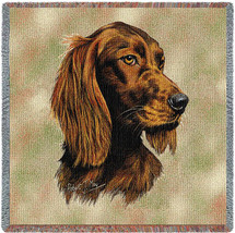 Irish Setter - Robert May - Lap Square Cotton Woven Blanket Throw - Made in the USA (54x54) Lap Square