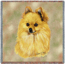 Pomeranian - Robert May - Lap Square Cotton Woven Blanket Throw - Made in the USA (54x54) Lap Square