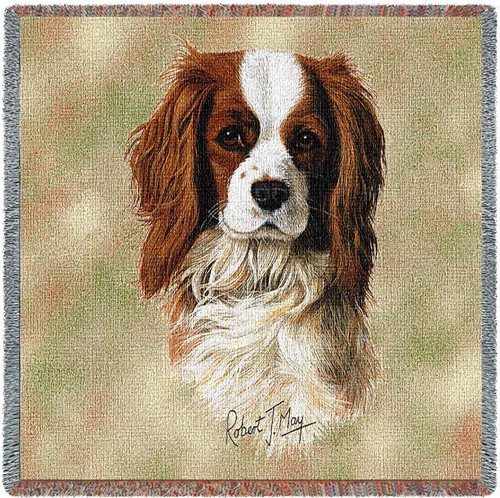 Cavalier King Charles Spaniel - Robert May - Lap Square Cotton Woven Blanket Throw - Made in the USA (54x54) Lap Square