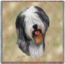 Old English Sheepdog - Robert May - Lap Square Cotton Woven Blanket Throw - Made in the USA (54x54) Lap Square