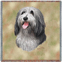 Bearded Collie - Robert May - Lap Square Cotton Woven Blanket Throw - Made in the USA (54x54) Lap Square
