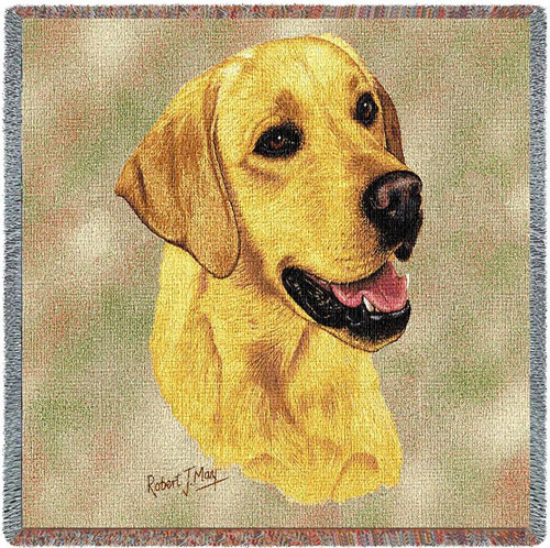Labrador Retriever Yellow Lab - Robert May - Lap Square Cotton Woven Blanket Throw - Made in the USA (54x54) Lap Square
