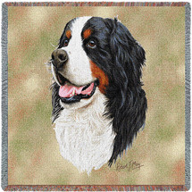 Bernese Mountain - Robert May - Lap Square Cotton Woven Blanket Throw - Made in the USA (54x54) Lap Square