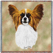 Papillion - Robert May - Lap Square Cotton Woven Blanket Throw - Made in the USA (54x54) Lap Square
