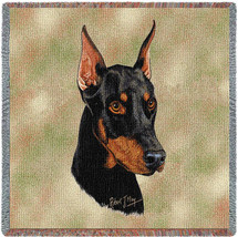 Doberman Pinscher - Robert May - Lap Square Cotton Woven Blanket Throw - Made in the USA (54x54) Lap Square