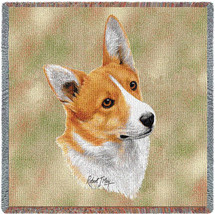 Pembroke Welsh Corgi - Robert May - Lap Square Cotton Woven Blanket Throw - Made in the USA (54x54) Lap Square
