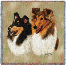 Collie - Robert May - Lap Square Cotton Woven Blanket Throw - Made in the USA (54x54) Lap Square