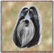 Shih Tzu - Robert May - Lap Square Cotton Woven Blanket Throw - Made in the USA (54x54) Lap Square