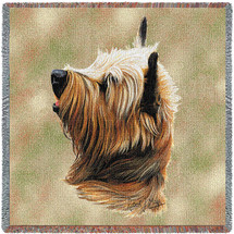 Cairn Terrier - Robert May - Lap Square Cotton Woven Blanket Throw - Made in the USA (54x54) Lap Square