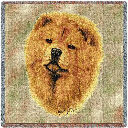 Chow Chow - Robert May - Lap Square Cotton Woven Blanket Throw - Made in the USA (54x54) Lap Square