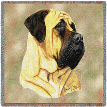 Bullmastiff - Robert May - Lap Square Cotton Woven Blanket Throw - Made in the USA (54x54) Lap Square
