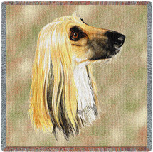 Afghan Hound - Robert May - Lap Square Cotton Woven Blanket Throw - Made in the USA (54x54) Lap Square