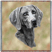 Weimaraner - Robert May - Lap Square Cotton Woven Blanket Throw - Made in the USA (54x54) Lap Square