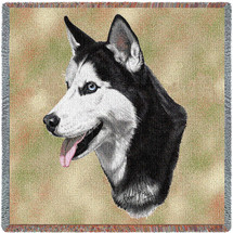 Siberian Husky - Robert May - Lap Square Cotton Woven Blanket Throw - Made in the USA (54x54) Lap Square