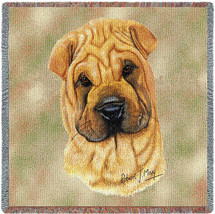 Shar-Pei - Robert May - Lap Square Cotton Woven Blanket Throw - Made in the USA (54x54) Lap Square