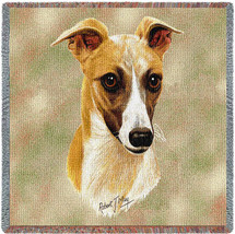 Whippet - Robert May - Lap Square Cotton Woven Blanket Throw - Made in the USA (54x54) Lap Square
