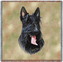 Scottish Terrier - Robert May - Lap Square Cotton Woven Blanket Throw - Made in the USA (54x54) Lap Square