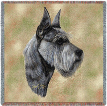 Schnauzer Terrier - Robert May - Lap Square Cotton Woven Blanket Throw - Made in the USA (54x54) Lap Square