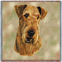 Airedale Terrier - Robert May - Lap Square Cotton Woven Blanket Throw - Made in the USA (54x54) Lap Square