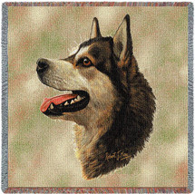 Alaskan Malamute - Robert May - Lap Square Cotton Woven Blanket Throw - Made in the USA (54x54) Lap Square