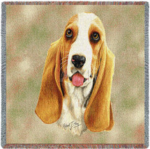 Bassett Hound - Robert May - Lap Square Cotton Woven Blanket Throw - Made in the USA (54x54) Lap Square