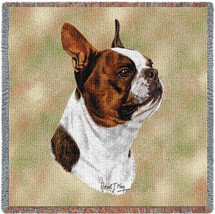 Boston Terrier Brown - Robert May - Lap Square Cotton Woven Blanket Throw - Made in the USA (54x54) Lap Square