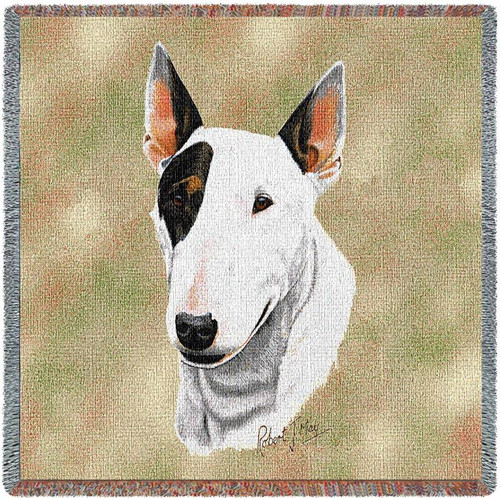 Bull Terrier - Robert May - Lap Square Cotton Woven Blanket Throw - Made in the USA (54x54) Lap Square
