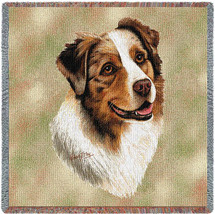 Australian Shepherd - Robert May - Lap Square Cotton Woven Blanket Throw - Made in the USA (54x54) Lap Square
