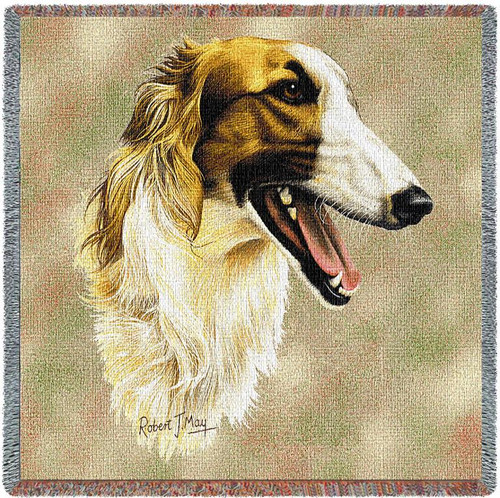 Borzoi - Robert May - Lap Square Cotton Woven Blanket Throw - Made in the USA (54x54) Lap Square