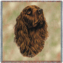 Boykin Spaniel - Robert May - Lap Square Cotton Woven Blanket Throw - Made in the USA (54x54) Lap Square