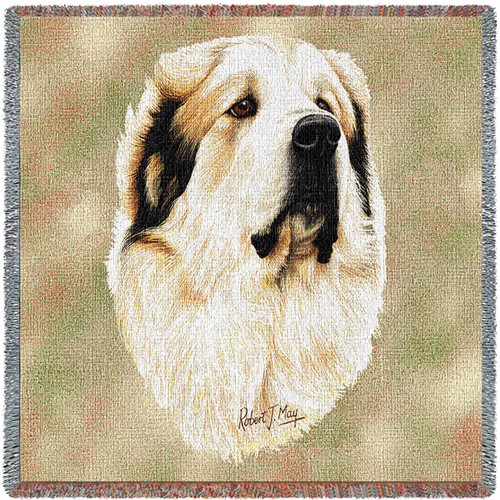Great Pyrenees - Robert May - Lap Square Cotton Woven Blanket Throw - Made in the USA (54x54) Lap Square
