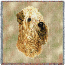 Soft Coated Wheaten Terrier - Robert May - Lap Square Cotton Woven Blanket Throw - Made in the USA (54x54) Lap Square