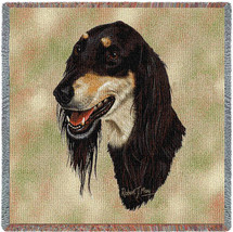 Saluki - Robert May - Lap Square Cotton Woven Blanket Throw - Made in the USA (54x54) Lap Square