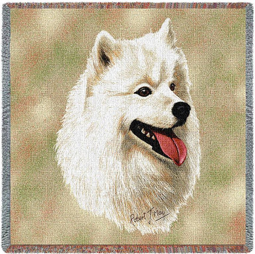 Samoyed - Robert May - Lap Square Cotton Woven Blanket Throw - Made in the USA (54x54) Lap Square