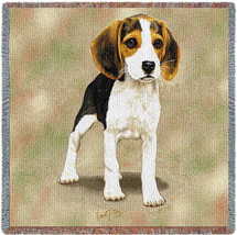 Beagle Puppy - Robert May - Lap Square Cotton Woven Blanket Throw - Made in the USA (54x54) Lap Square