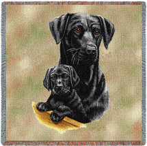 Labrador Retriever with Puppy Black Lab - Robert May - Lap Square Cotton Woven Blanket Throw - Made in the USA (54x54) Lap Square