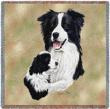 Border Collie with Puppy - Robert May - Lap Square Cotton Woven Blanket Throw - Made in the USA (54x54) Lap Square