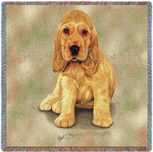 Cocker Spaniel Puppy - Robert May - Lap Square Cotton Woven Blanket Throw - Made in the USA (54x54) Lap Square