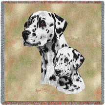 Dalmatian with Puppy - Robert May - Lap Square Cotton Woven Blanket Throw - Made in the USA (54x54) Lap Square