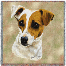 Jack Russell Terrier with Puppy - Robert May - Lap Square Cotton Woven Blanket Throw - Made in the USA (54x54) Lap Square