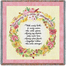 Our Family Is A Circle Of Strength and Love - Lap Square Cotton Woven Blanket Throw - Made in the USA (54x54) Lap Square