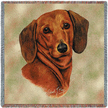 Dachshund Red - Robert May - Lap Square Cotton Woven Blanket Throw - Made in the USA (54x54) Lap Square