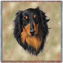 Long Haired Dachshund Black and Tan - Robert May - Lap Square Cotton Woven Blanket Throw - Made in the USA (54x54) Lap Square