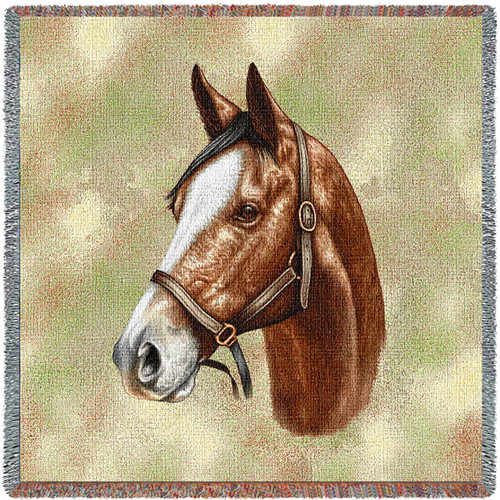 Thoroughbred Horse Light Brown - Robert May - Lap Square Cotton Woven Blanket Throw - Made in the USA (54x54) Lap Square