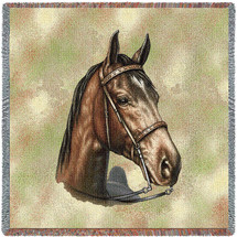 Tennessee Walking Horse - Robert May - Lap Square Cotton Woven Blanket Throw - Made in the USA (54x54) Lap Square