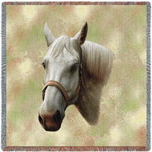 Quarter Horse - Robert May - Lap Square Cotton Woven Blanket Throw - Made in the USA (54x54) Lap Square